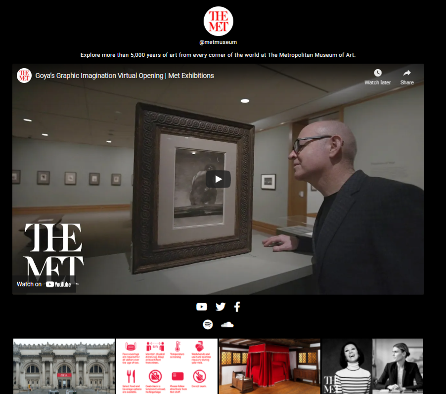страница lnk.bio для музея метрополитена с выделенной миниатюрой видео