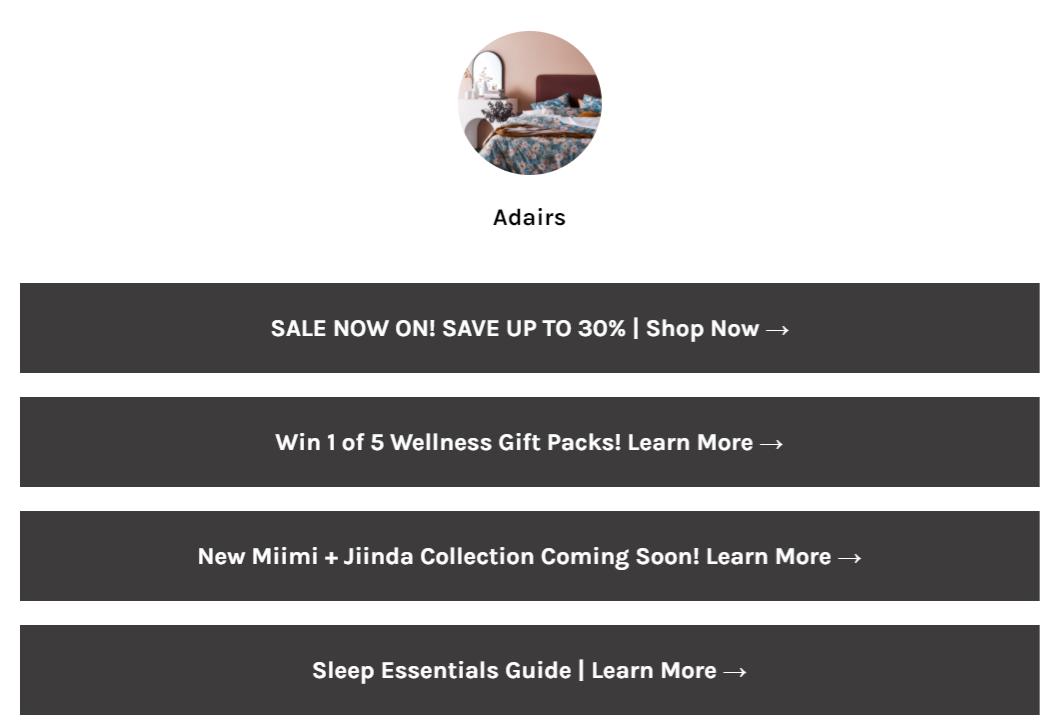 Linktree page for Adairs демонстрирует ссылку на его 30% скидку