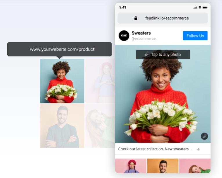 пример страницы feedlink с фотографией женщины, держащей цветы в качестве миниатюры ссылки