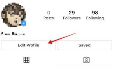 стрелка, указывающая на кнопку изменить профиль в Instagram