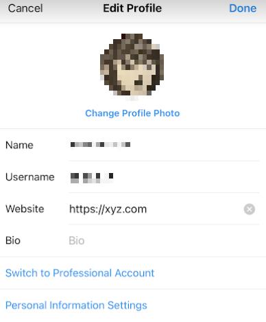 Instagram редактировать страницу профиля с заполненным полем URL