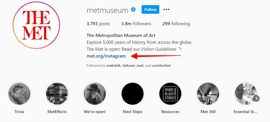 стрелка указывающая на пользовательский URL адрес для биографии Instagram Музея Метрополитен